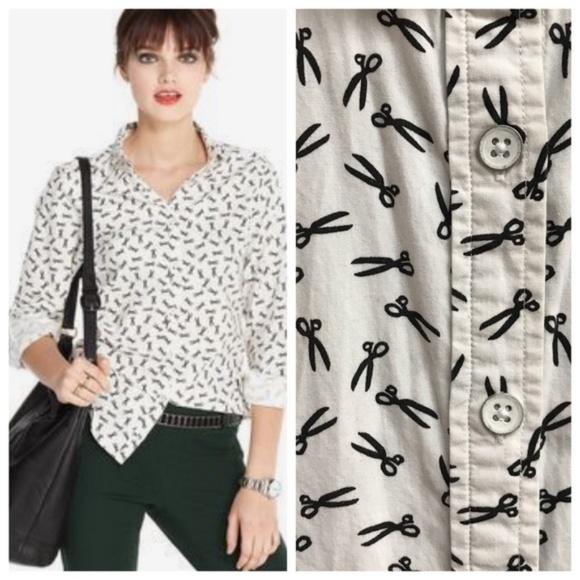 4b08779d Maison Jules Tops - Maison Jules | Scissor Print Button Down Shirt